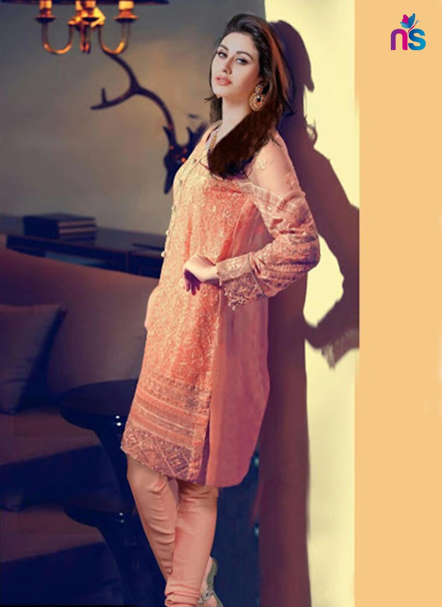 NS11434 Orange Party Wear Georgette Pakistani Suit