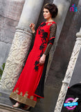 SC 12553 Red and Black Embroidered Georgette Party WearDesigner Suit