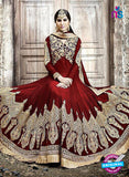 SC 13252 Red and Golden Embroidered Shimmer Georgette Fancy Anarkali Suit