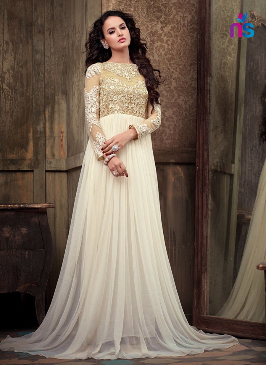 SC 12476 White Party Wear Georgette Designer Gown Replica