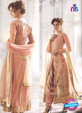 SC 13258 Peach Embroidered Net Heavy Handwork and Backwork Party Wear Designer Suit