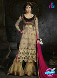 Sybella S-14 Beige Color Embroidered Net Pakistani Suit Online