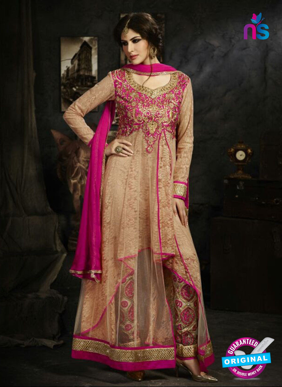 Sybella S-18 Beige Color Embroidered Net Party Wear Suit
