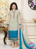Vinay Fashion 3486 Beige and Blue Crape Party Wear Suit