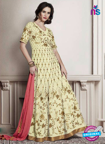 Decent S-5 Light Yellow Anarkali Suit