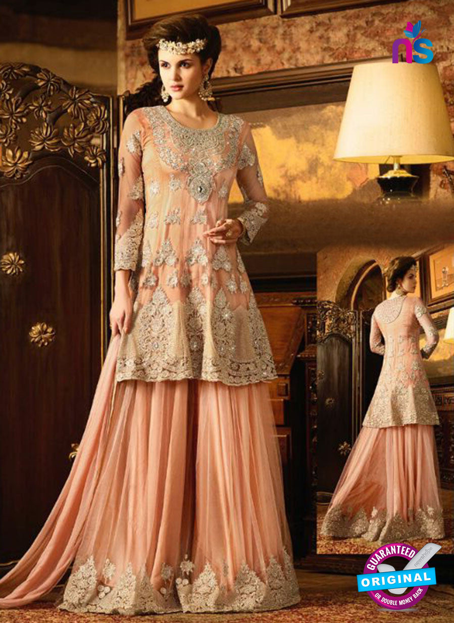 AZ 3858 Peach Net Party Wear Suit