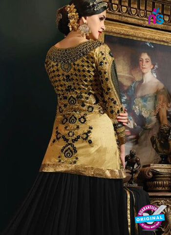 Vibrant S-74 Golden and Black Indo Western Suit