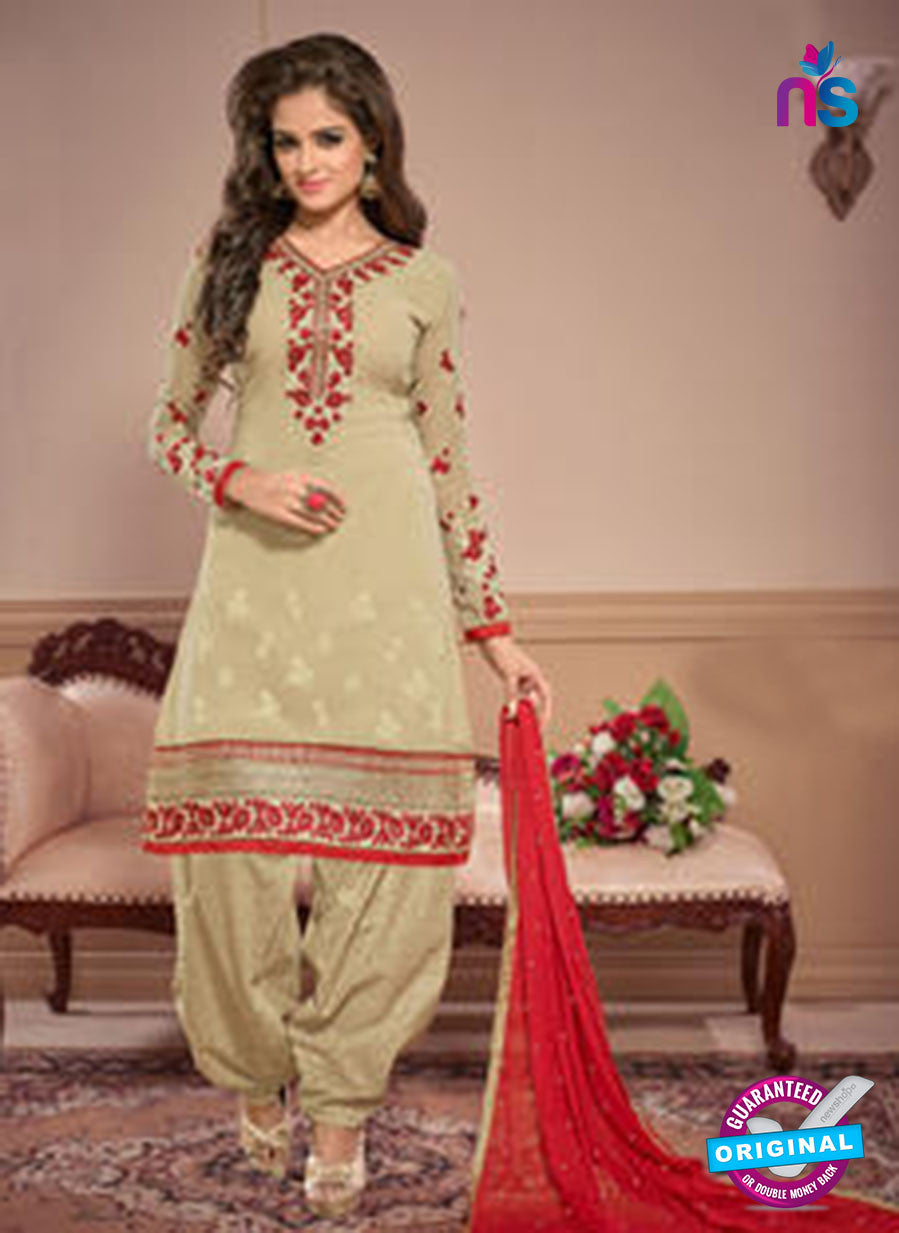 SC 12876 Beige and Red Georgette Designer Suit Online