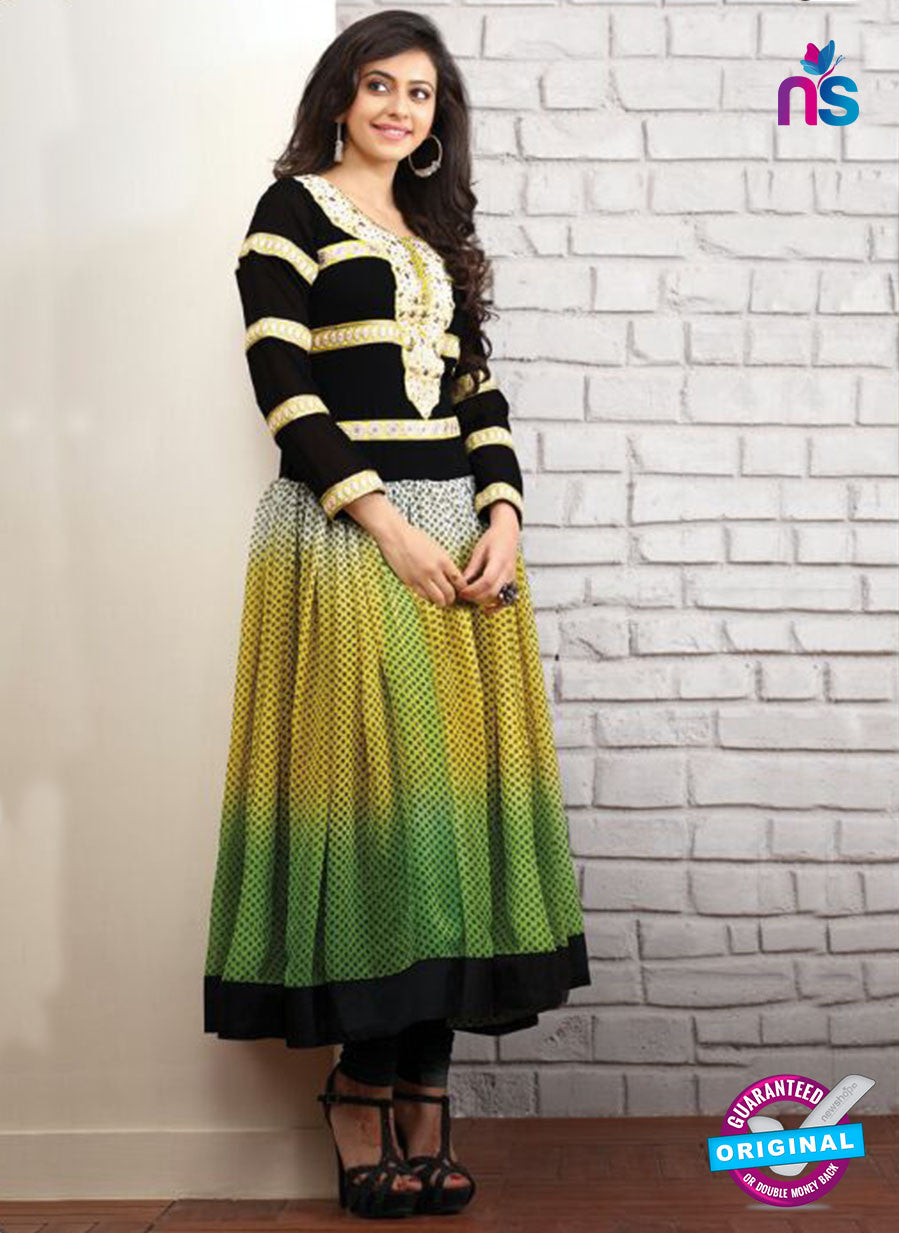 SP 1095 - Black And Yellow and Green Color Georgette Anarkali Suit