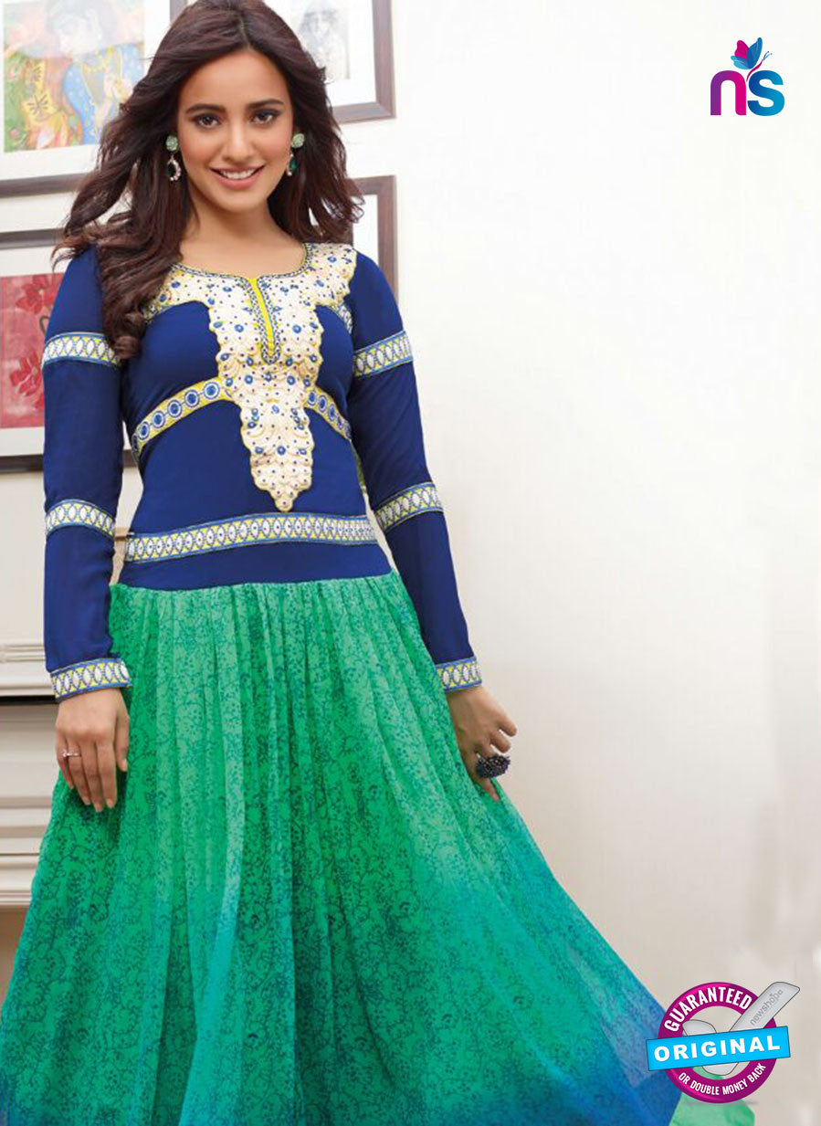 SP 1096 - Blue and Green Color Georgette Anarkali Suit