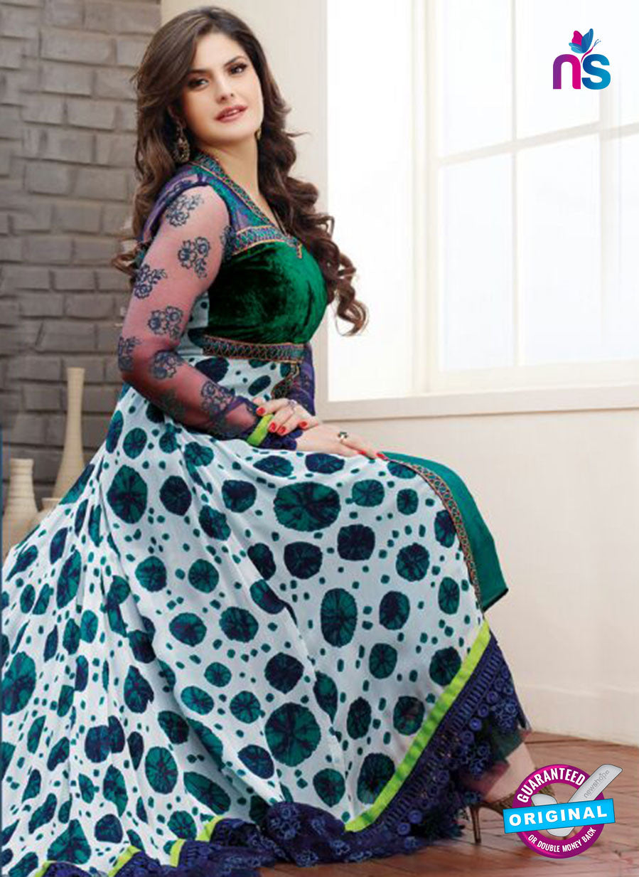 SP 1999 - Green and White Color Georgette Anarkali Suit