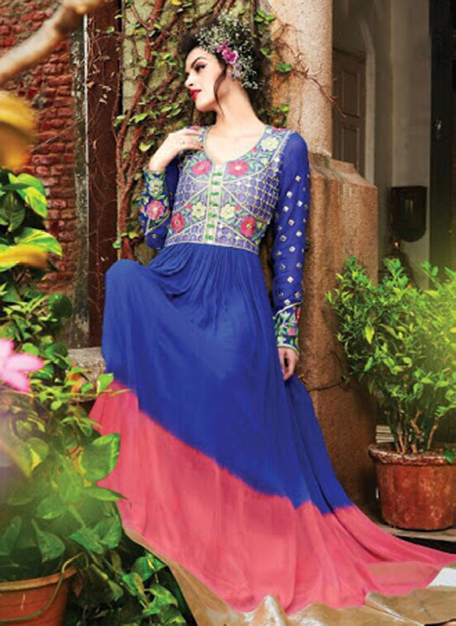 NS11441 RoyalBlue and HotPink Georgette Desiger Gawn