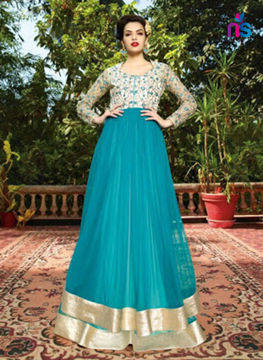 NS11442 Silver and AquaBlue Santoon Designer Gawn