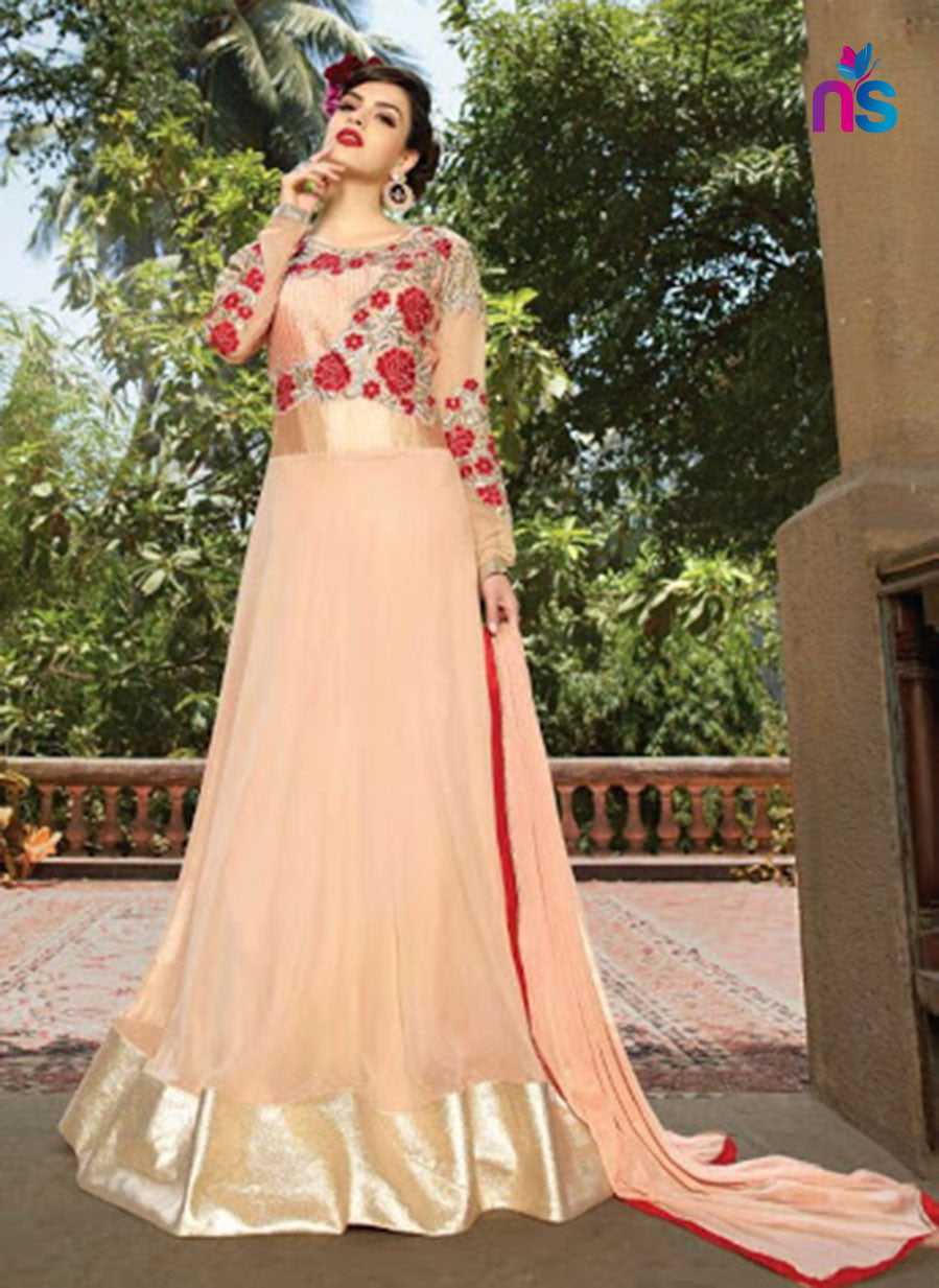 NS11444 Red and Beige Georgette or Net Desinger Gawn
