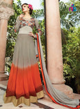 NS11447 TanBrown and OrangeRed Georgette or Net Designer Gawn