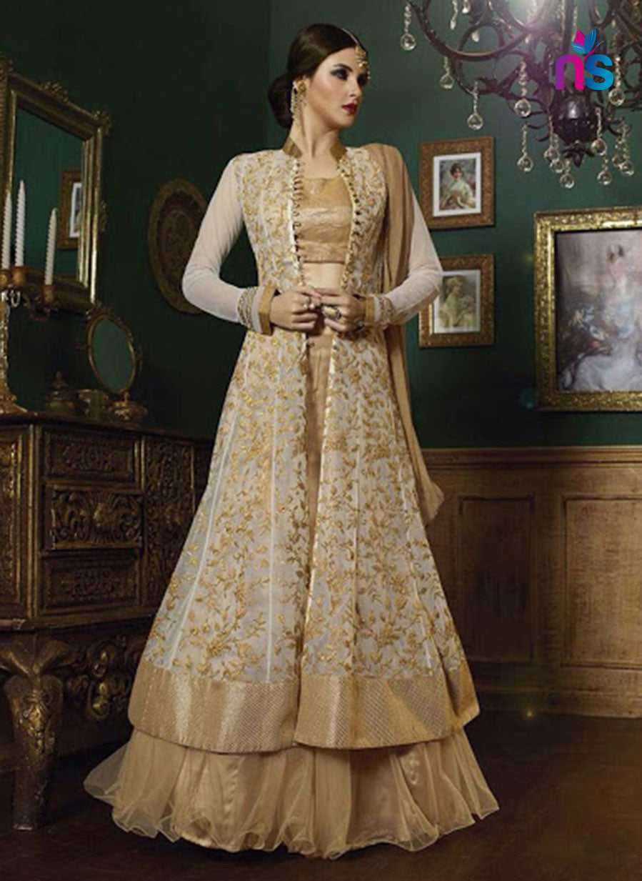 SC 12446  9004 White and Beige Embroidered Georgette Designer Replica Suit