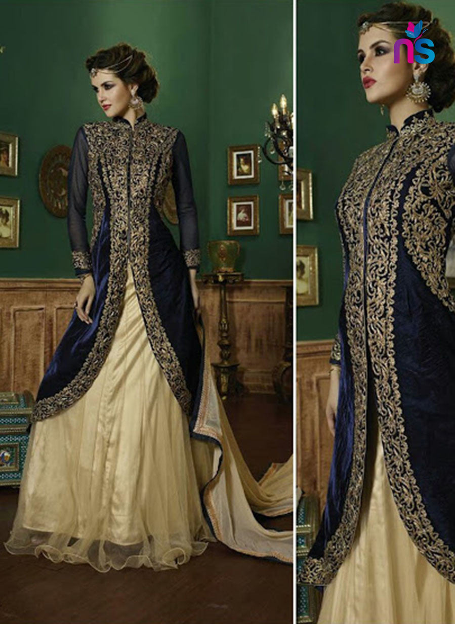 SC 12445  9005 Blue and Beige Embroidered Georgette Designer Replica Suit