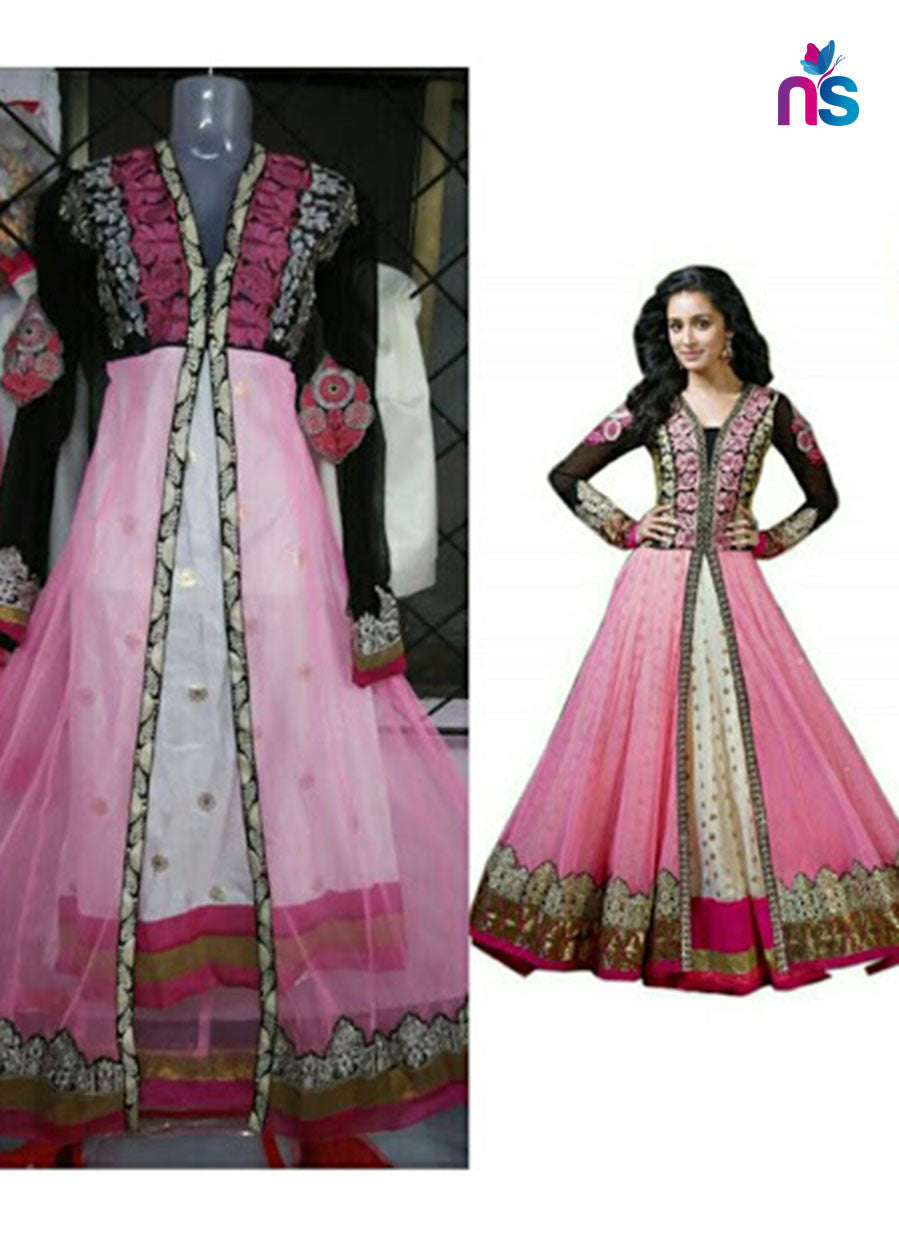 SC 12467 Pink and White Party Wear Net Aanarkali Style Replica