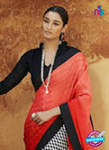 NS11691  CarrotRed Black and White Satin Georgette Saree