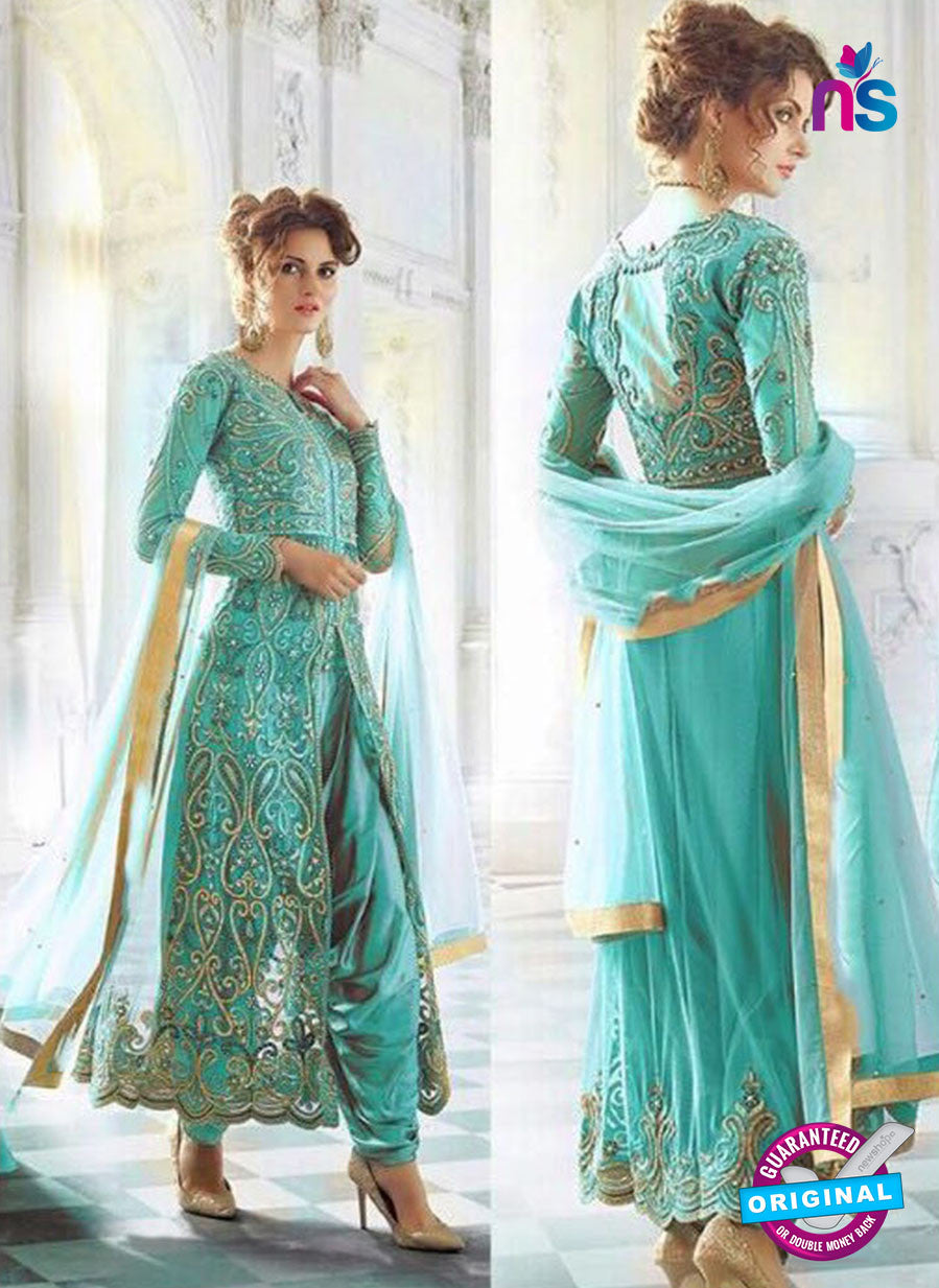 SC 13260 Sky Blue Embroidered Net Heavy Handwork and Backwork Party Wear Designer Suit