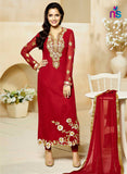 SC 12420  Red Embroidered Georgette Party Wear Straight Suit Replica