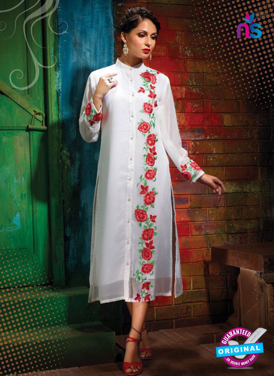 AZ 2349 White Georgette Fancy Designer Party Wear Kurti