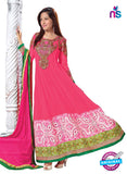 NS 12425 Pink and Green Embroidered Georgette Party Wear Anarkali Suit