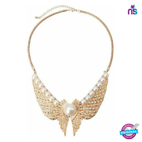 110 Exclusive Fashion Golden Wings with Pearl Necklace