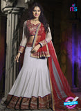 SC 12344 White and Maroon Valvet and Georgette Party Wear Lehenga Choli