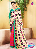 NS11920  Green and Yellow and Orange Chiffon Saree