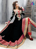 SC 12436  Black and Red Embroidered Net Party Wear Designer Replica Suit