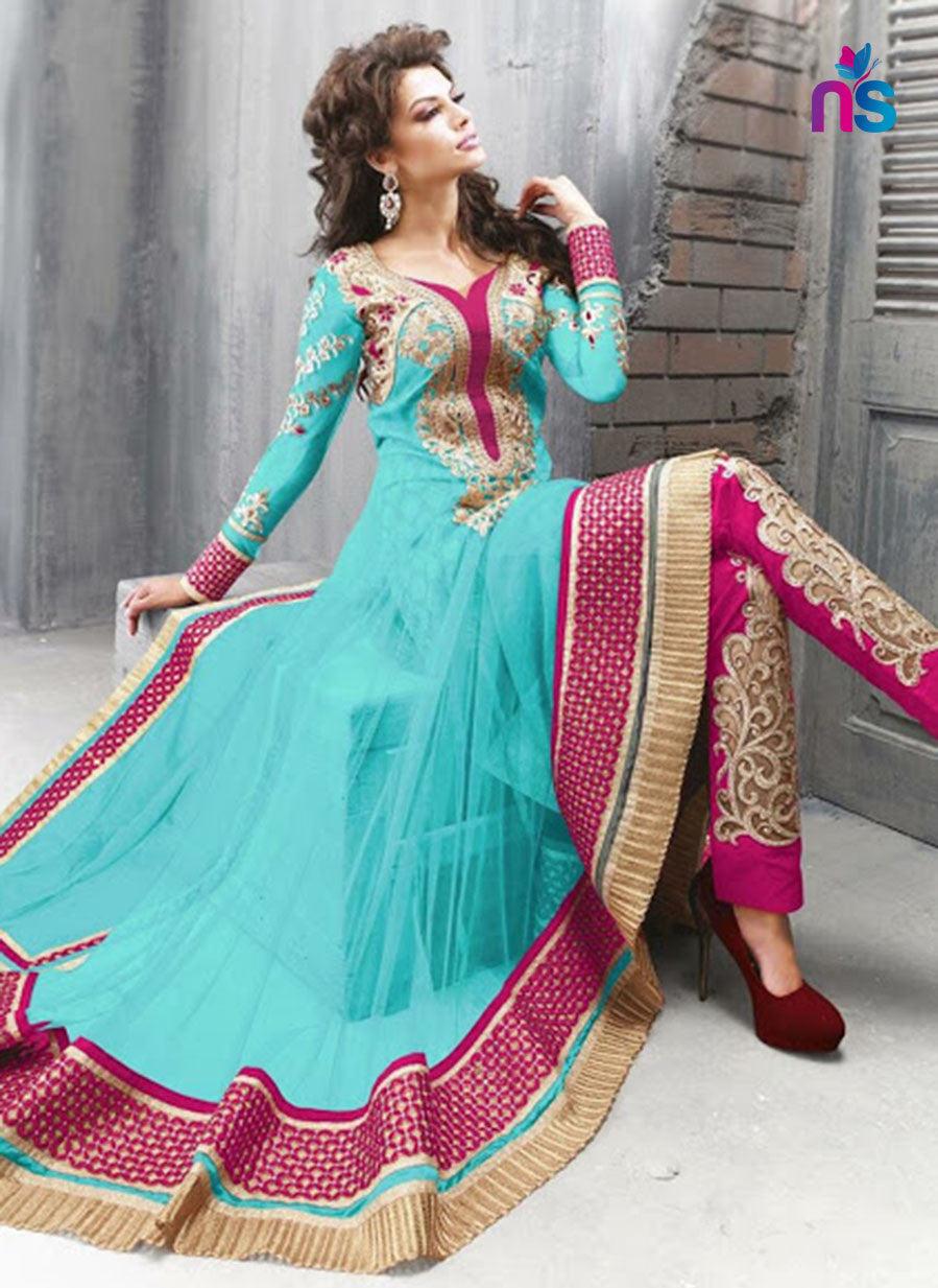 SC 12439  Blue and Pink Embroidered Net Party Wear Designer Replica Suit