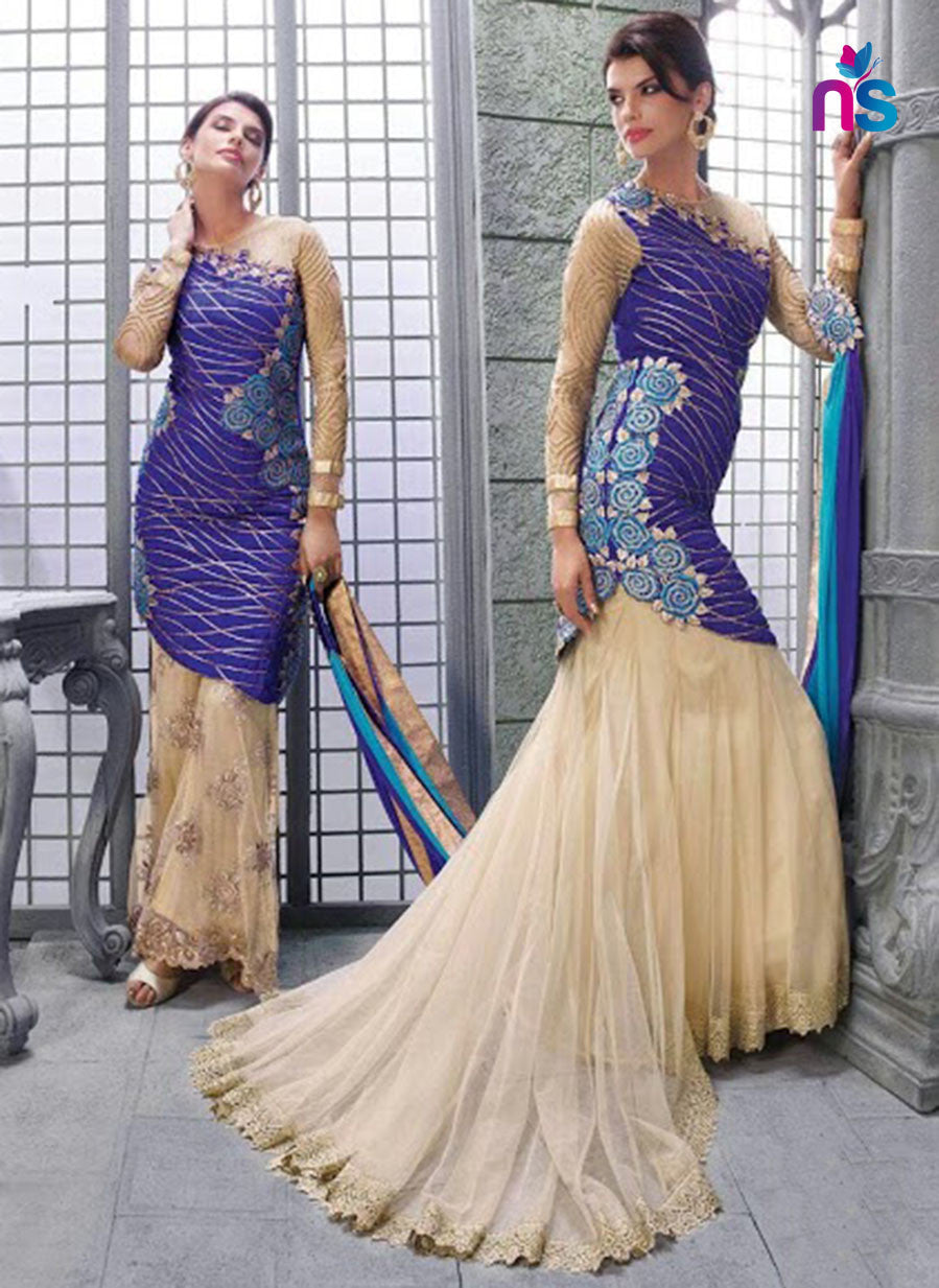SC 12447  14002 Blue and Beige Georgette Net Party Wear Designer Replica Suit