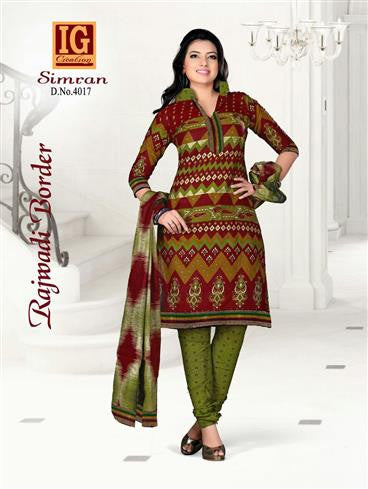 NS11712 Maroon and DarkOliveGreen Printed Popplin Cotton Daily Wear Chudidar Suit