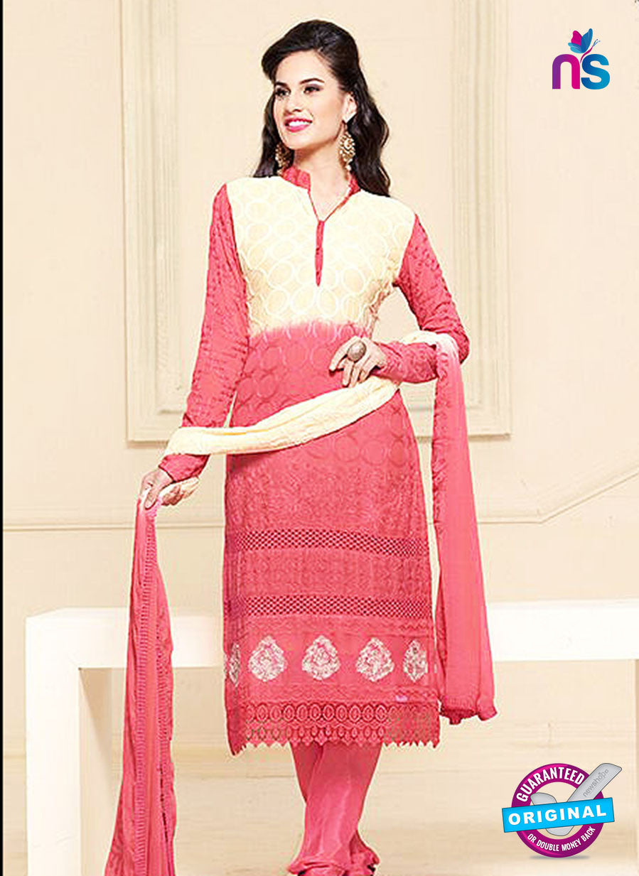 NS10300 Beige and Pink Party Wear Pure Chiffon Designer Straight Suit