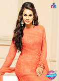 NS10302 CarrotRed Party Wear Pure Chiffon Designer Straight Suit