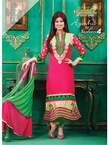 Tashan 4604  Deep Pink and Light Green Cotton Straight Suit
