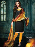 NS11454 Black and Yellow Banarasi Jacquard Daily Wear Straight Suit