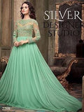 NS11063 Green Party Wear Georgette Designer Gown Maisha Suit
