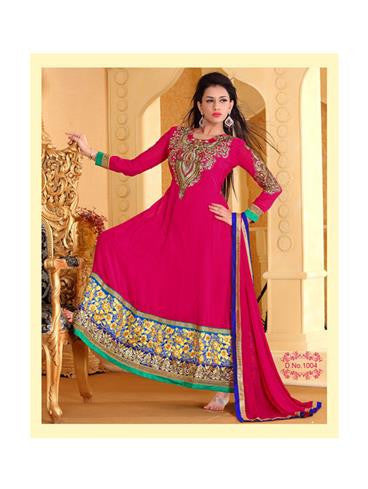 NS10934 Deep Pink and Roya lBlue Georgette Anarkali Suit