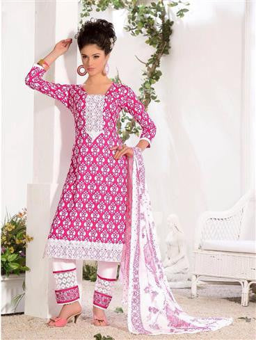 NS11585 Pink Printed Cotton Straight Suit