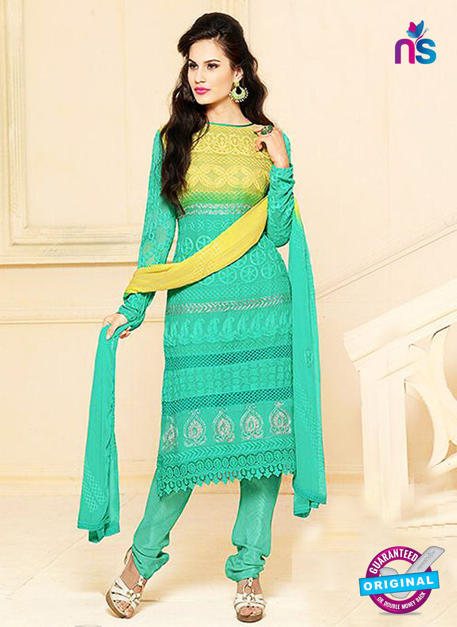 NS10303 Yellow and Sea Green Party Wear Pure Chiffon Designer Straight Suit