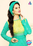 NS10303 Yellow and Sea Green Party Wear Pure Chiffon Designer Straight Suit Online