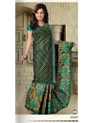 NS11640 C Green Cotton Printed Saree
