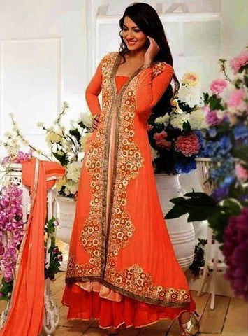 NS10087  Orange Color Georgette Designer Anarkali Suit