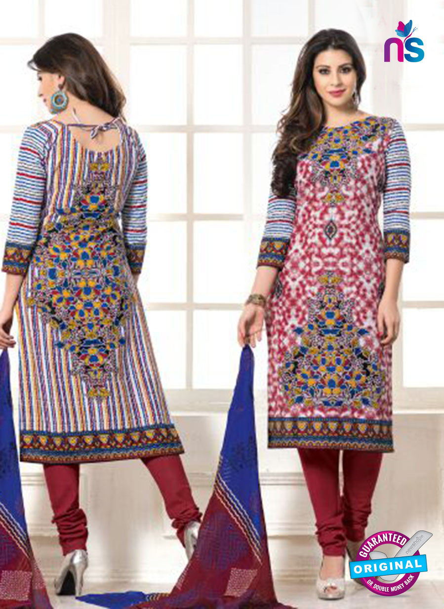 NS10107 Maroon and Multicolor Cotton Straight Suit
