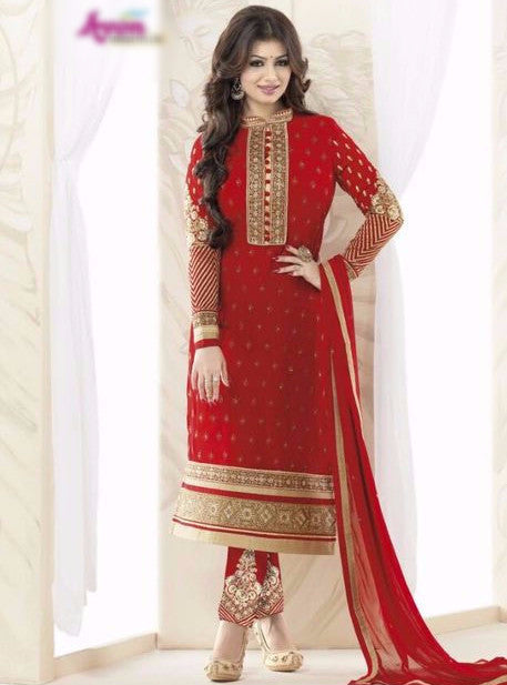Avon 993 Red Color Georgette Designer Suit