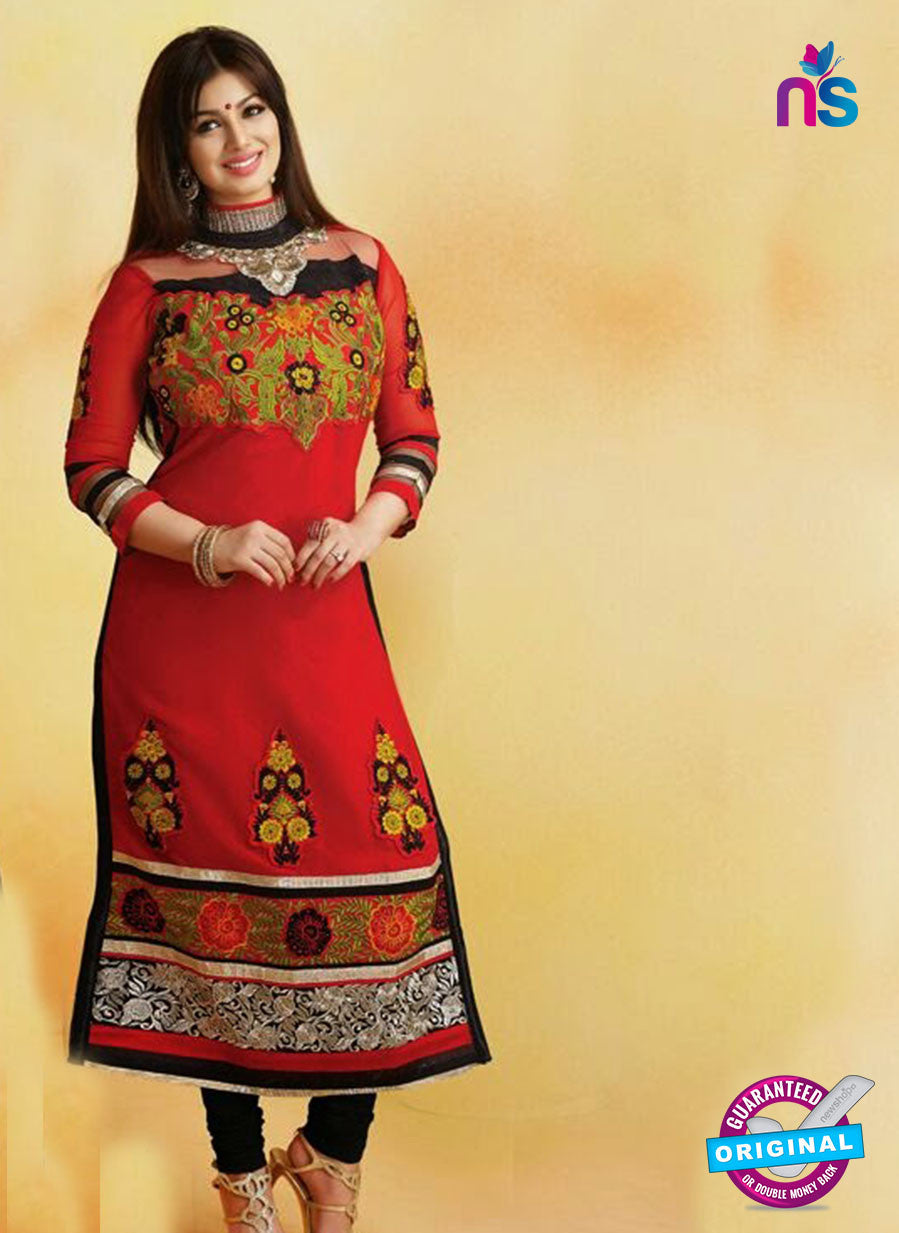 NS10139 Red and Black Georgette Straight Suit