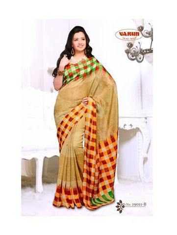 NS11840 B Orange and Multicolor Cotton Based Saree