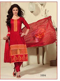 NS11438  Red and LightRed Cotton Jaqcuard Party Wear Straight Suit